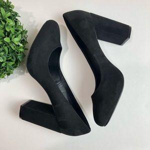 Aldo Black Suede Block Heel Size 9